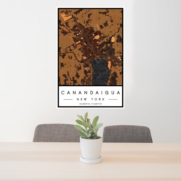 24x36 Canandaigua New York Map Print Portrait Orientation in Ember Style Behind 2 Chairs Table and Potted Plant