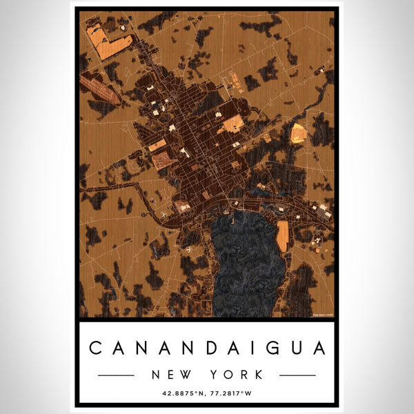 Canandaigua New York Map Print Portrait Orientation in Ember Style With Shaded Background