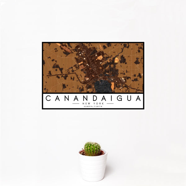 12x18 Canandaigua New York Map Print Landscape Orientation in Ember Style With Small Cactus Plant in White Planter