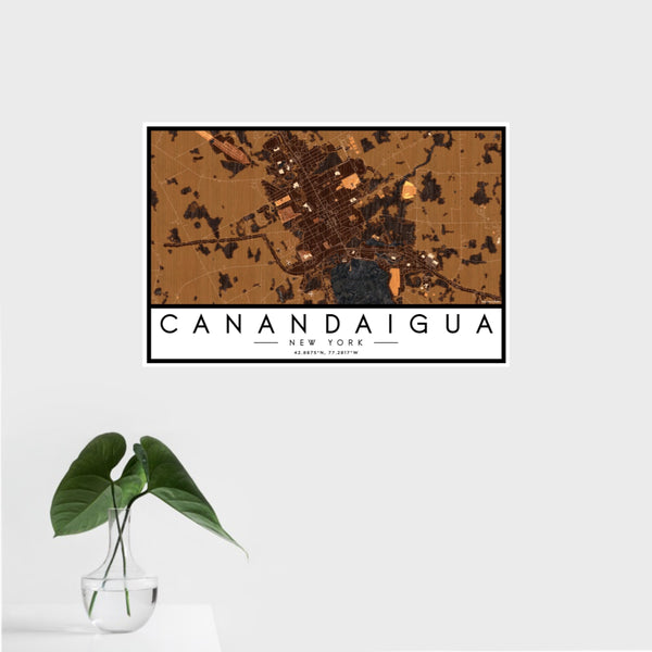 16x24 Canandaigua New York Map Print Landscape Orientation in Ember Style With Tropical Plant Leaves in Water