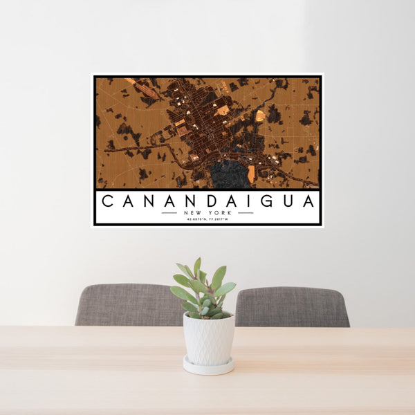 24x36 Canandaigua New York Map Print Landscape Orientation in Ember Style Behind 2 Chairs Table and Potted Plant