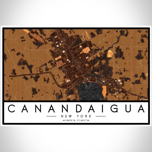 Canandaigua New York Map Print Landscape Orientation in Ember Style With Shaded Background