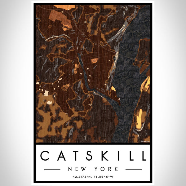 Catskill New York Map Print Portrait Orientation in Ember Style With Shaded Background