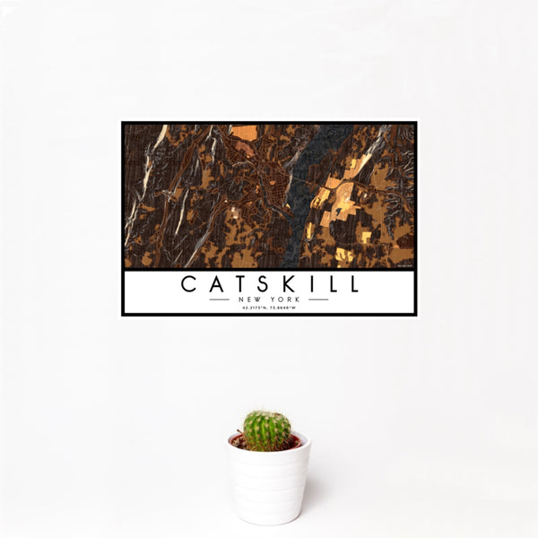 12x18 Catskill New York Map Print Landscape Orientation in Ember Style With Small Cactus Plant in White Planter