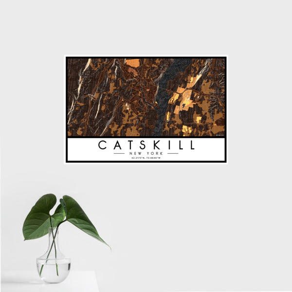 16x24 Catskill New York Map Print Landscape Orientation in Ember Style With Tropical Plant Leaves in Water