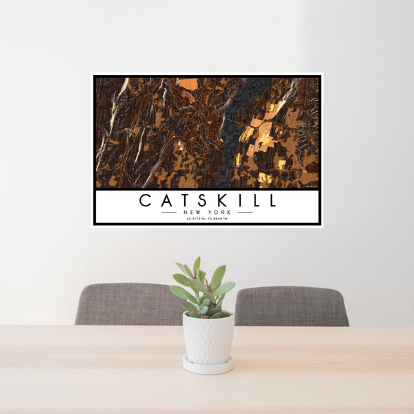 24x36 Catskill New York Map Print Landscape Orientation in Ember Style Behind 2 Chairs Table and Potted Plant