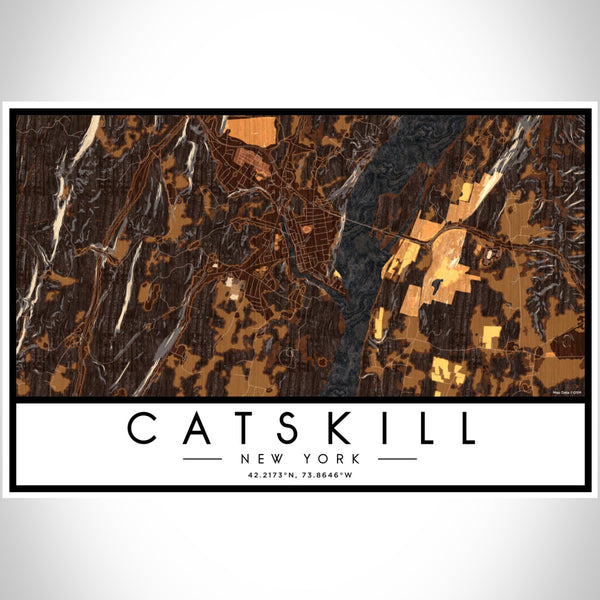 Catskill New York Map Print Landscape Orientation in Ember Style With Shaded Background