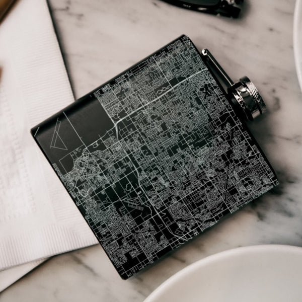 Chandler - Arizona Map Hip Flask in Matte Black