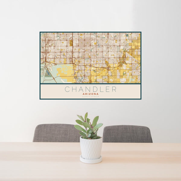 Chandler - Arizona Map Print in Woodblock