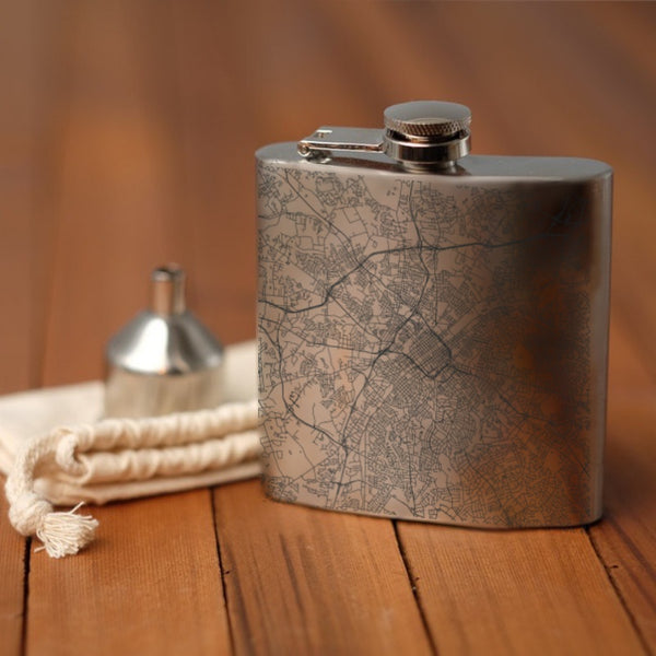 Charlotte - North Carolina Map Hip Flask