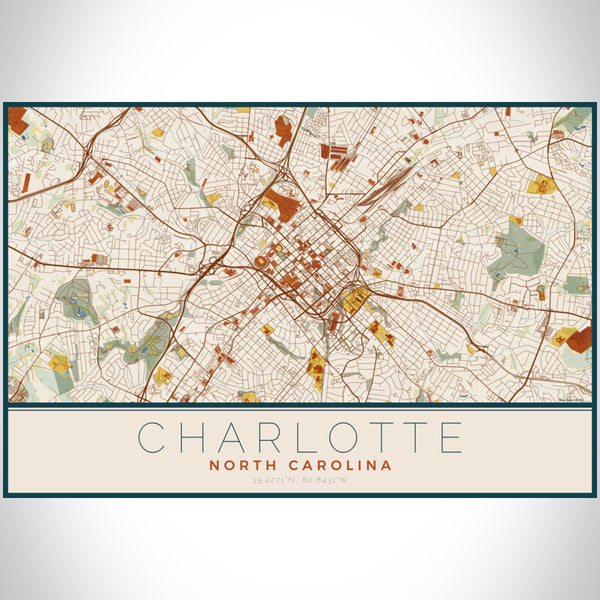 Charlotte - North Carolina Map Print in Woodblock