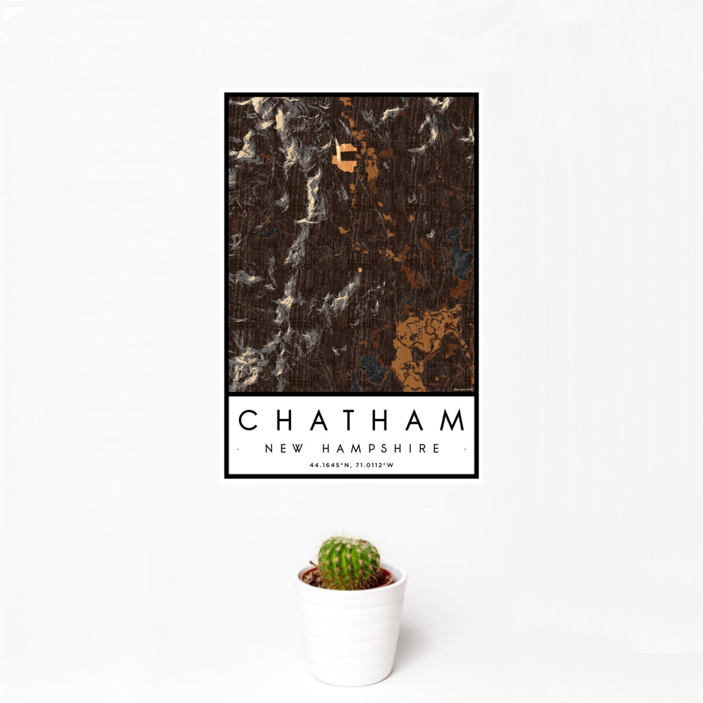 12x18 Chatham New Hampshire Map Print Portrait Orientation in Ember Style With Small Cactus Plant in White Planter
