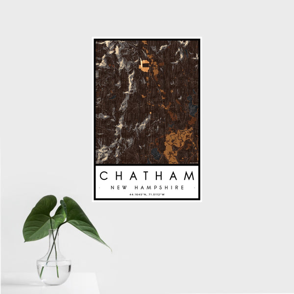 16x24 Chatham New Hampshire Map Print Portrait Orientation in Ember Style With Tropical Plant Leaves in Water