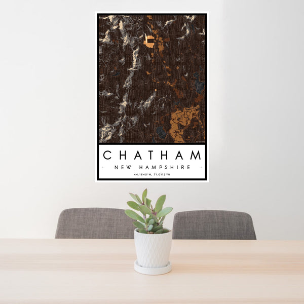 24x36 Chatham New Hampshire Map Print Portrait Orientation in Ember Style Behind 2 Chairs Table and Potted Plant