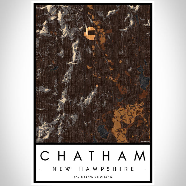 Chatham New Hampshire Map Print Portrait Orientation in Ember Style With Shaded Background