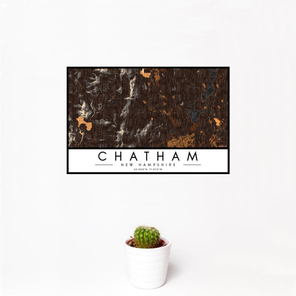 12x18 Chatham New Hampshire Map Print Landscape Orientation in Ember Style With Small Cactus Plant in White Planter