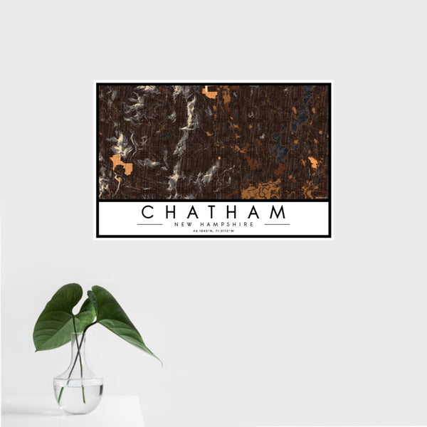 16x24 Chatham New Hampshire Map Print Landscape Orientation in Ember Style With Tropical Plant Leaves in Water