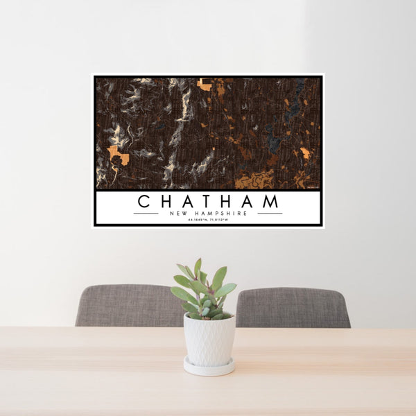 24x36 Chatham New Hampshire Map Print Landscape Orientation in Ember Style Behind 2 Chairs Table and Potted Plant