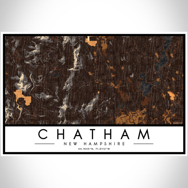 Chatham New Hampshire Map Print Landscape Orientation in Ember Style With Shaded Background