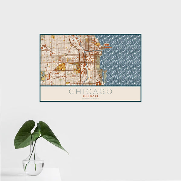 Chicago - Illinois Map Print in Woodblock