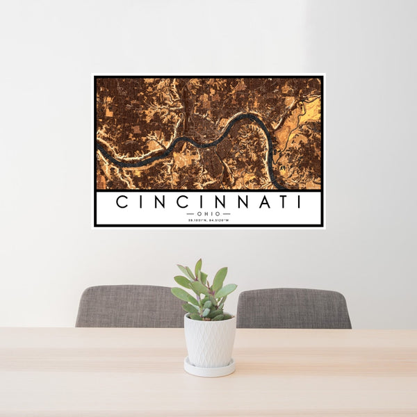 Cincinnati - Ohio Map Print in Ember