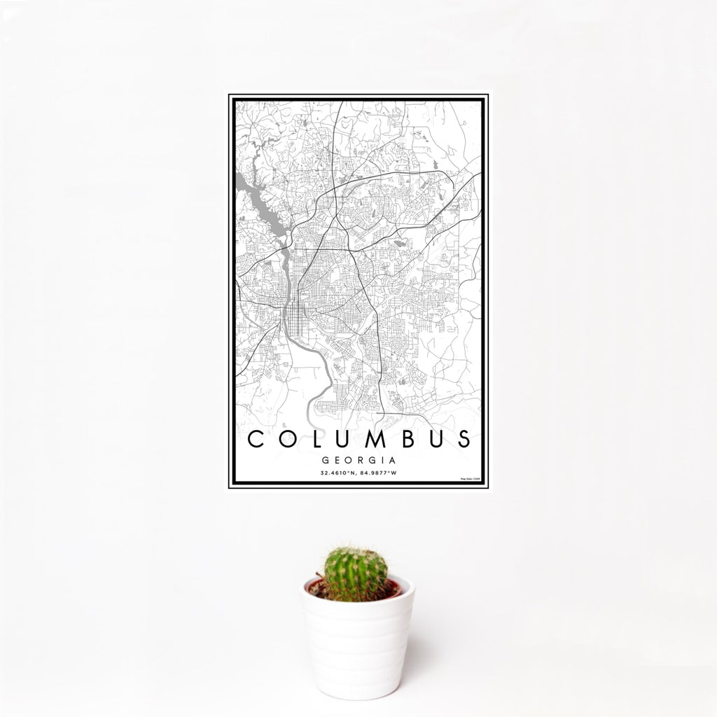 12x18 Columbus Georgia Map Print Portrait Orientation in Classic Style With Small Cactus Plant in White Planter
