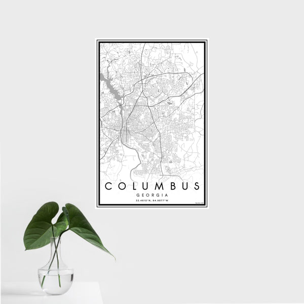 16x24 Columbus Georgia Map Print Portrait Orientation in Classic Style With Tropical Plant Leaves in Water