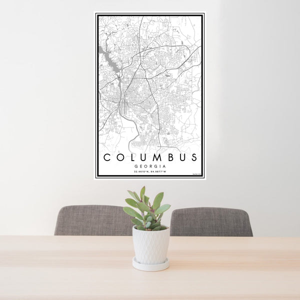 24x36 Columbus Georgia Map Print Portrait Orientation in Classic Style Behind 2 Chairs Table and Potted Plant