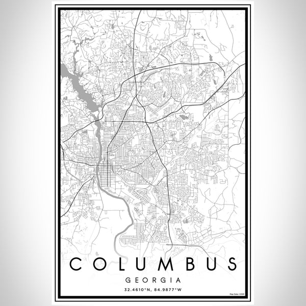 Columbus Georgia Map Print Portrait Orientation in Classic Style With Shaded Background