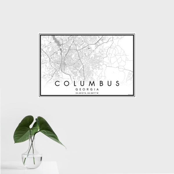 16x24 Columbus Georgia Map Print Landscape Orientation in Classic Style With Tropical Plant Leaves in Water
