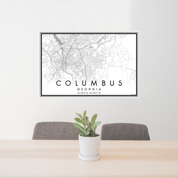 24x36 Columbus Georgia Map Print Landscape Orientation in Classic Style Behind 2 Chairs Table and Potted Plant