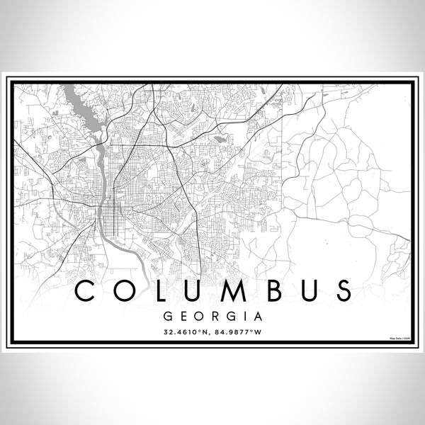 Columbus Georgia Map Print Landscape Orientation in Classic Style With Shaded Background