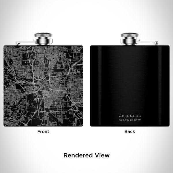 Columbus - Ohio Map Hip Flask in Matte Black