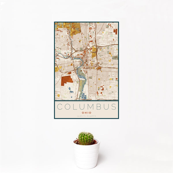 Columbus - Ohio Map Print in Woodblock