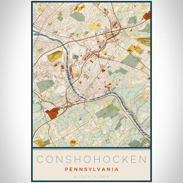 Conshohocken - Pennsylvania Map Print in Woodblock