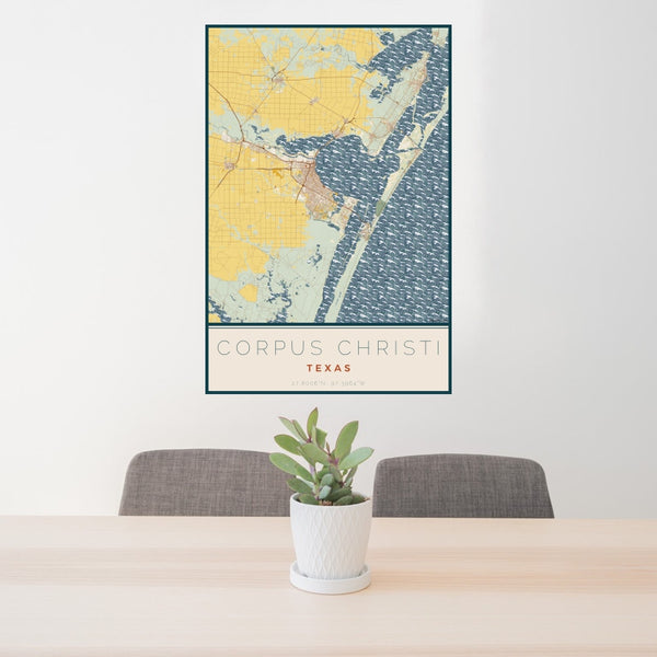 Corpus Christi - Texas Map Print in Woodblock