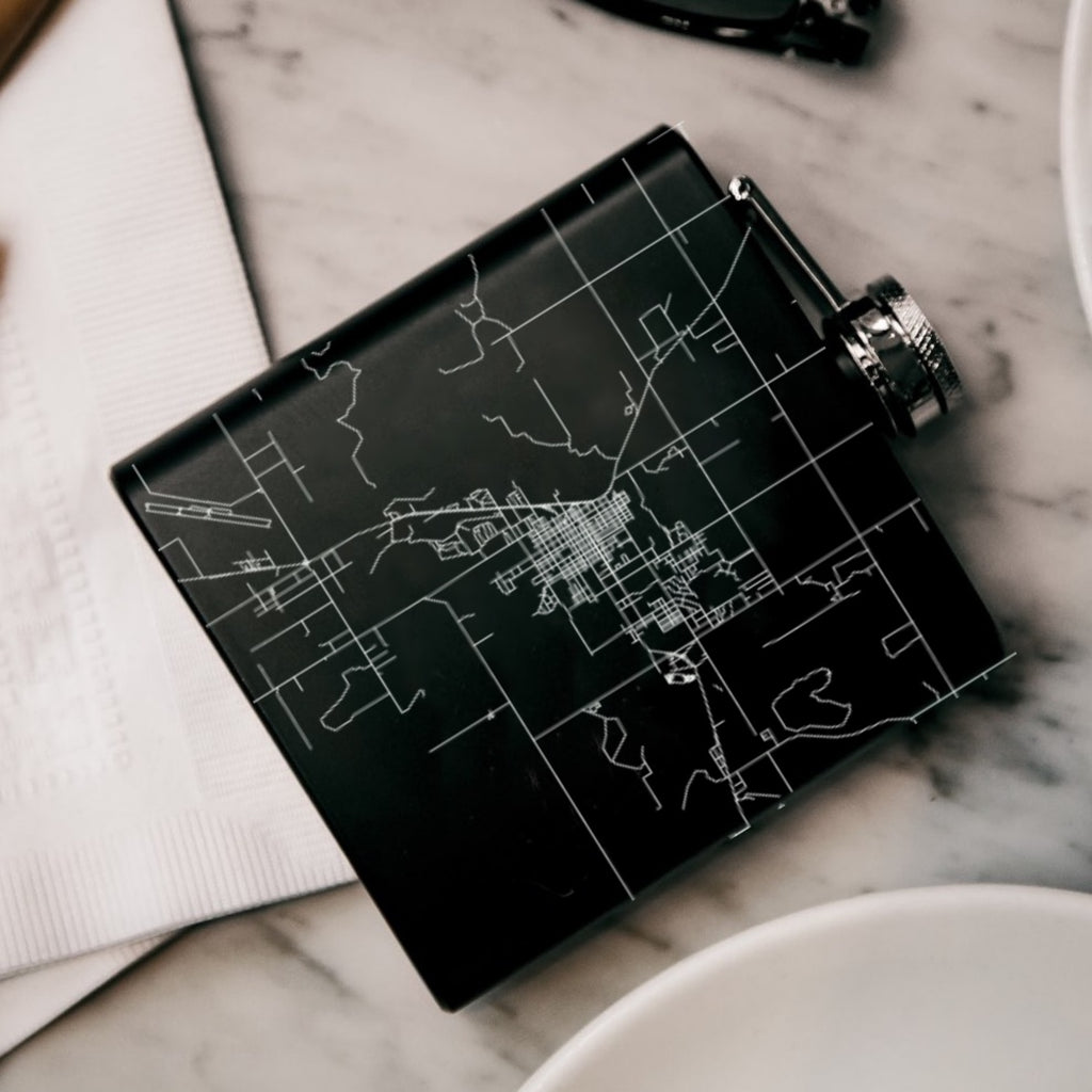 Cortez Colorado Custom Engraved City Map Inscription Coordinates on 6oz Stainless Steel Flask in Black