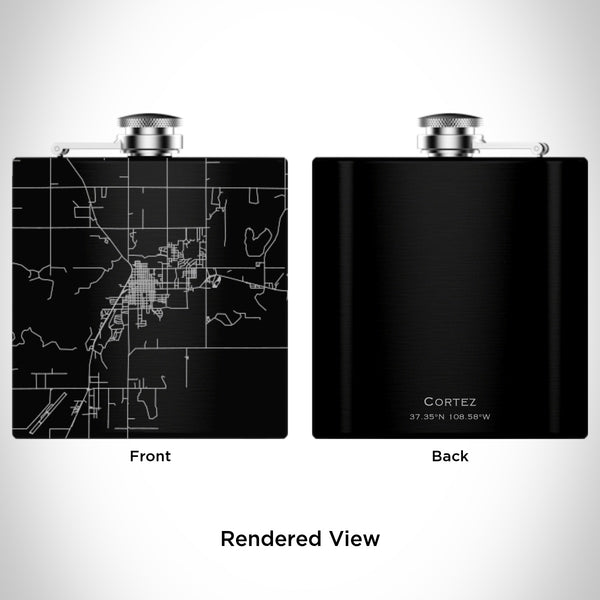 Rendered View of Cortez Colorado Map Engraving on 6oz Stainless Steel Flask in Black