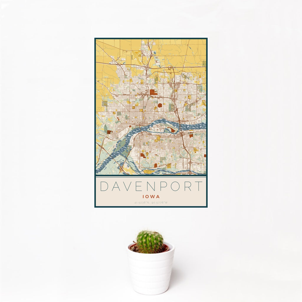 12x18 Davenport Iowa Map Print Portrait Orientation in Woodblock Style With Small Cactus Plant in White Planter