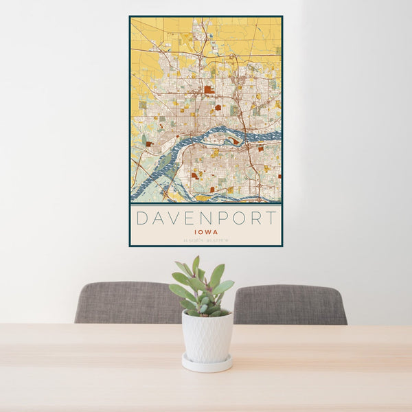 24x36 Davenport Iowa Map Print Portrait Orientation in Woodblock Style Behind 2 Chairs Table and Potted Plant