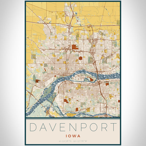 Davenport Iowa Map Print Portrait Orientation in Woodblock Style With Shaded Background