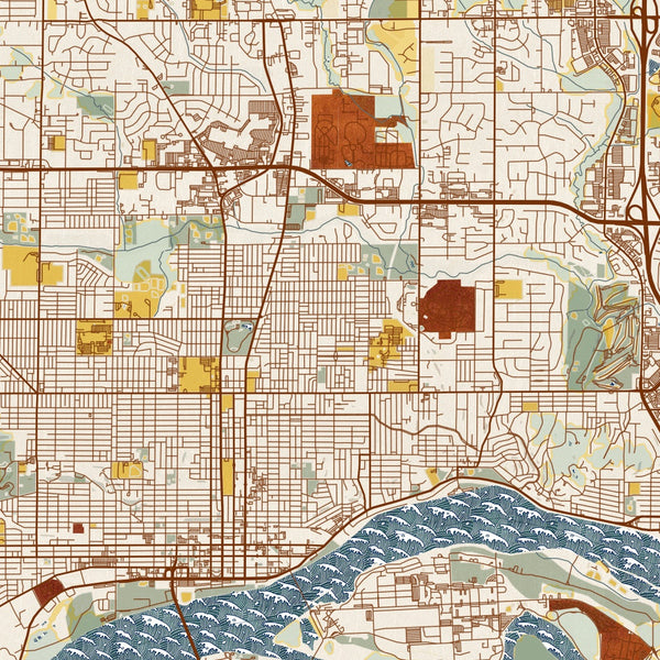 Davenport Iowa Map Print in Woodblock Style Zoomed In Close Up Showing Details