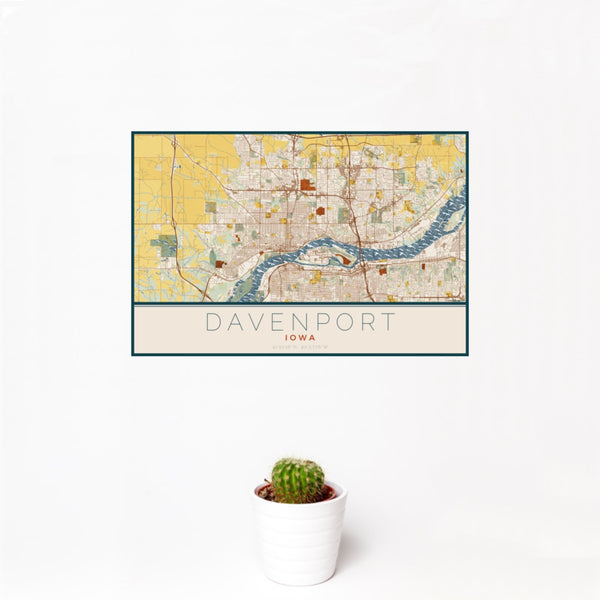 12x18 Davenport Iowa Map Print Landscape Orientation in Woodblock Style With Small Cactus Plant in White Planter