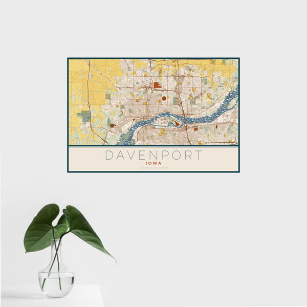 16x24 Davenport Iowa Map Print Landscape Orientation in Woodblock Style With Tropical Plant Leaves in Water
