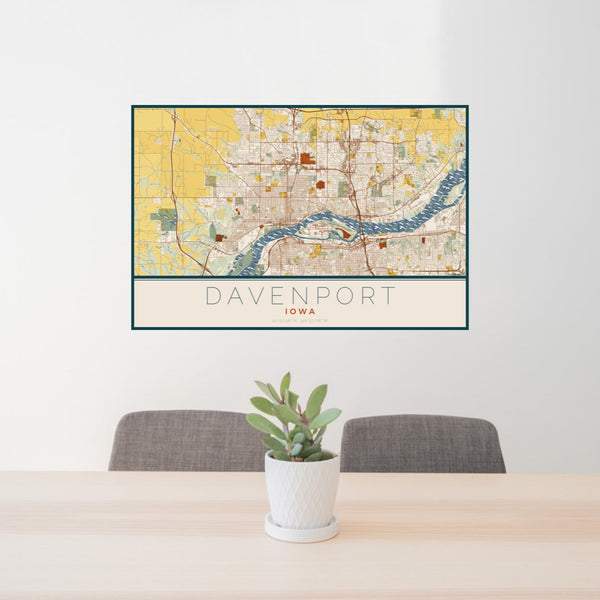 24x36 Davenport Iowa Map Print Landscape Orientation in Woodblock Style Behind 2 Chairs Table and Potted Plant