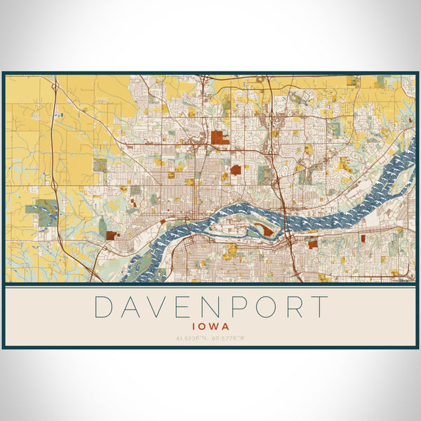 Davenport Iowa Map Print Landscape Orientation in Woodblock Style With Shaded Background