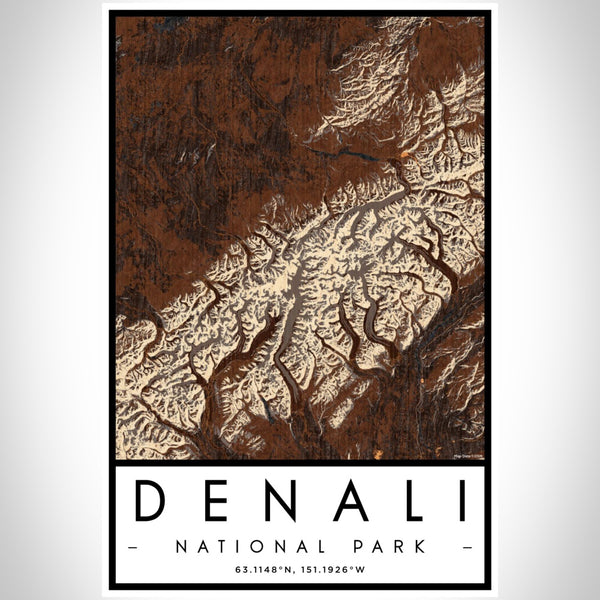 Denali - National Park Map Print in Ember