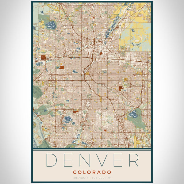 Denver - Colorado Map Print in Woodblock