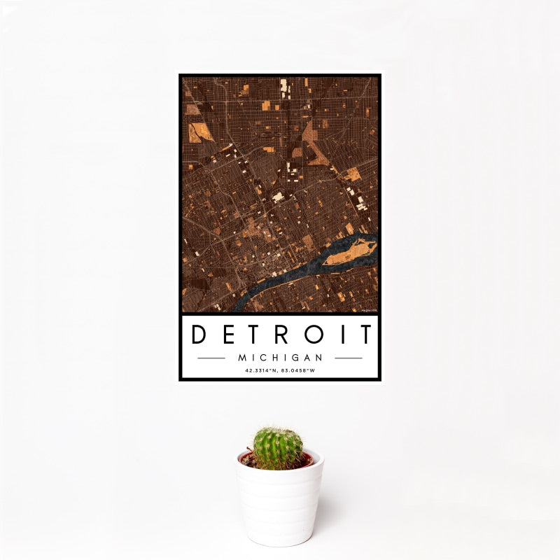 Detroit - Michigan Map Print in Ember