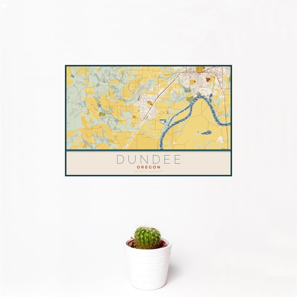 Dundee - Oregon Map Print in Woodblock